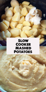 Creamy Slow Cooker Mashed Potatoes couldn't be any easier to make. Simply add all the ingredients to the slow cooker and let it do it's magic! Perfect for the holidays! #vegan #recipes #potatoes #dairyfree #crockpot #slowcooker #easyrecipes #food #Thanksgiving #Christmas #Easter #mashedpotatoes