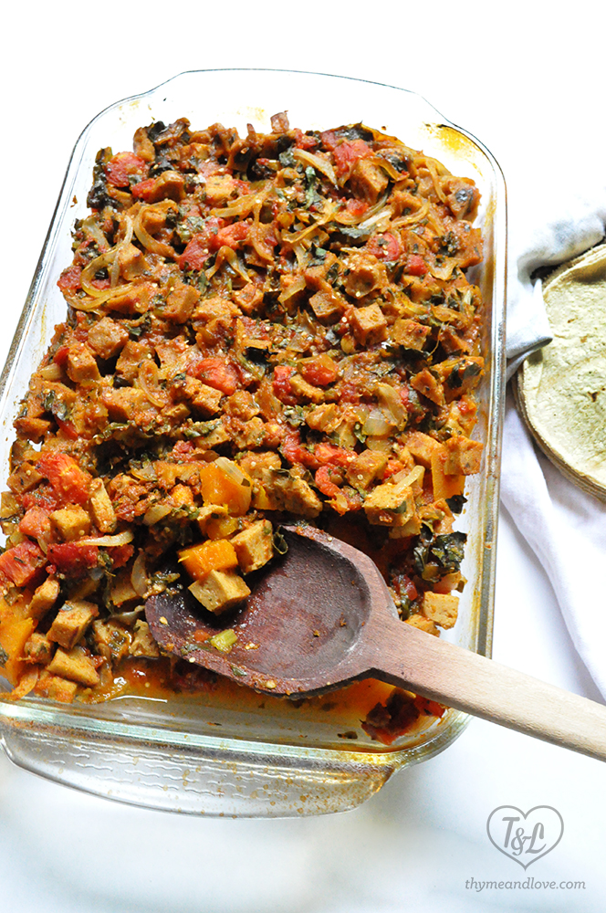 Mexican Braised Pumpkin and Seitan. A great #vegan option for your holiday dinners.
