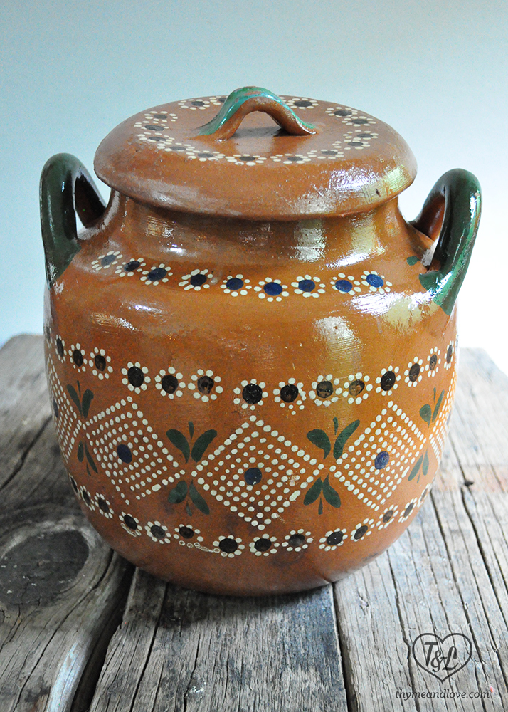 A traditional Mexican cooking clay pot used for making frijoles de olla. The clay pot adds an earthy flavor to the beans.