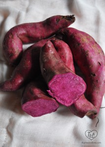 Mashed Purple Sweet Potatoes with Maple Pecans featuring camotes morado