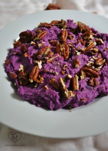Mashed Purple Sweet Potatoes with Maple Pecans. A colorful and delicious side dish to add to your holiday table this Thanksgiving!