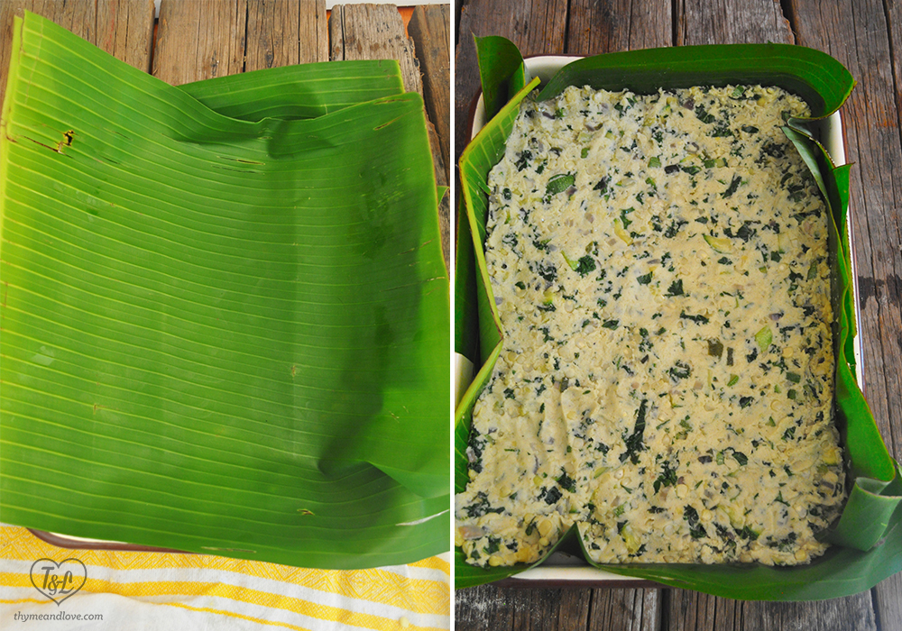 Banana Leaves are used as the base for Tamale Stuffing
