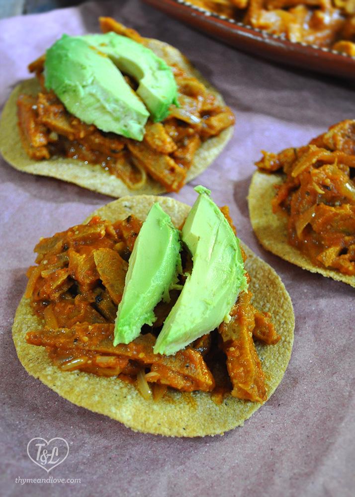 Vegan Tinga Tostadas: a vegan spin on a classic Mexican dish.