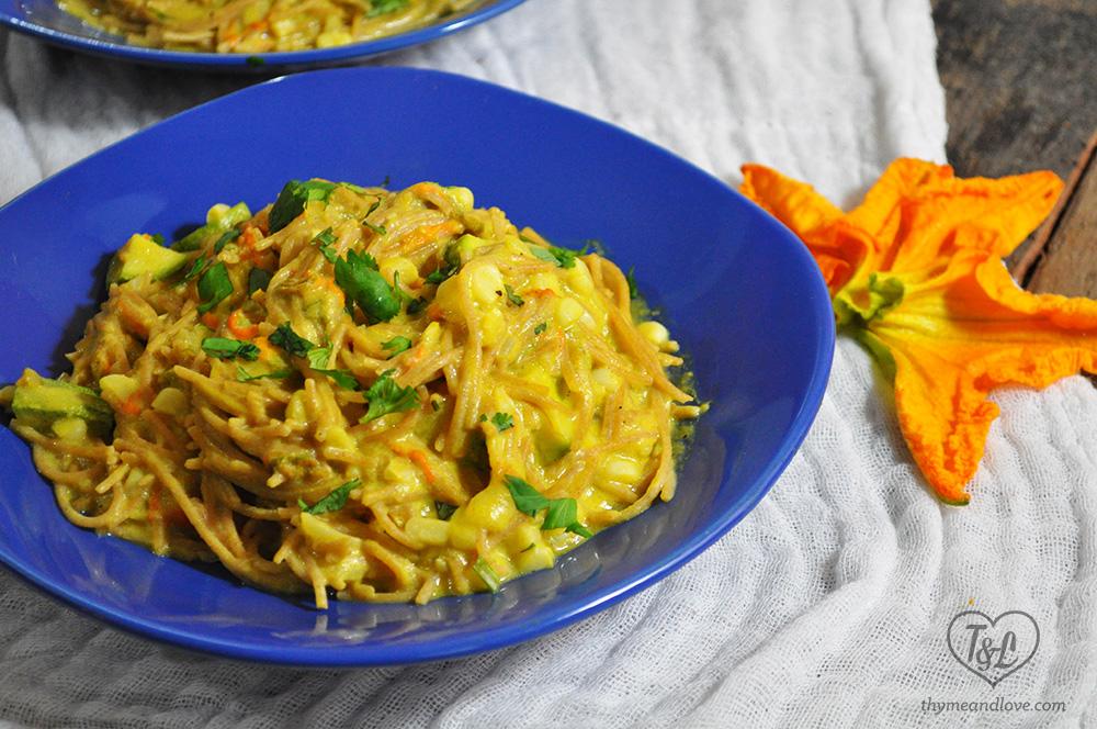 Squash Blossom Pasta with Corn + Zucchini