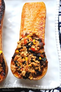 Black Bean Chili served inside Butternut Squash boats!