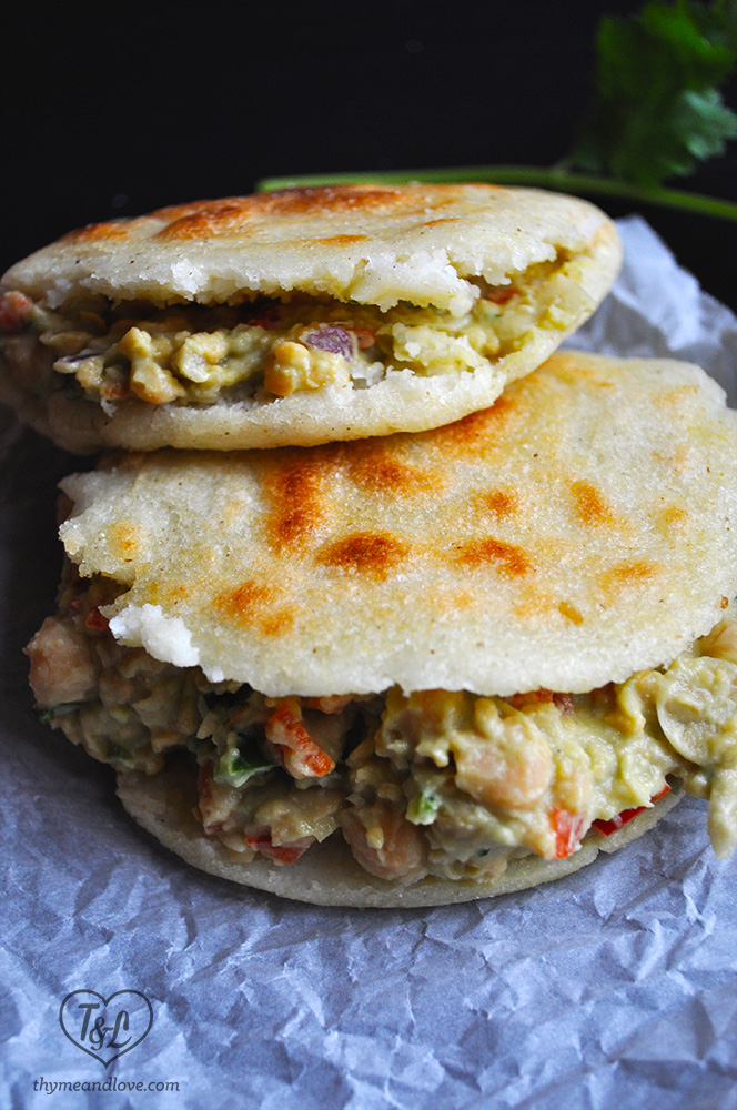 Vegan Arepa: Venezuelan Arepa filled with an avocado + chickpea vegetarian filling