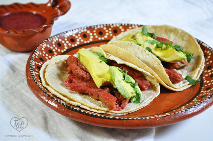 Oven Roasted Seitan Tacos with Hibiscus Marinate