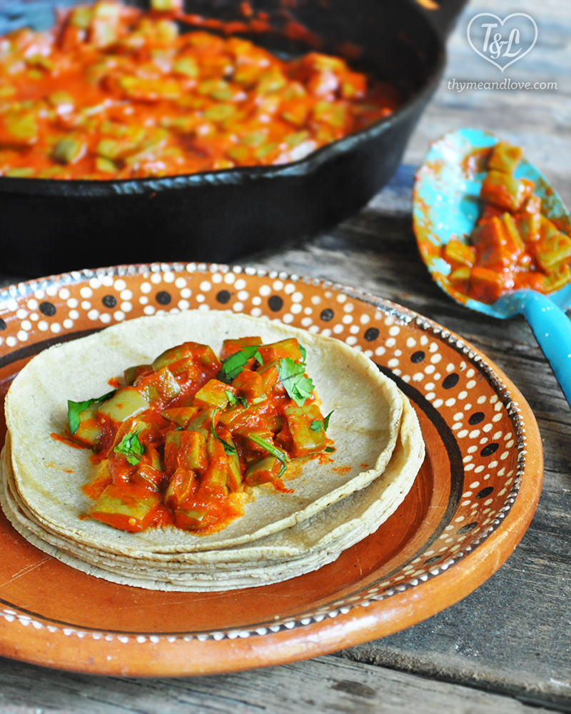 nopales in guajillo chile sauce