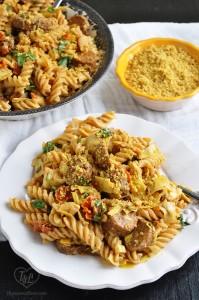vegan-fusilli-sausage-artichokes-tomatoes