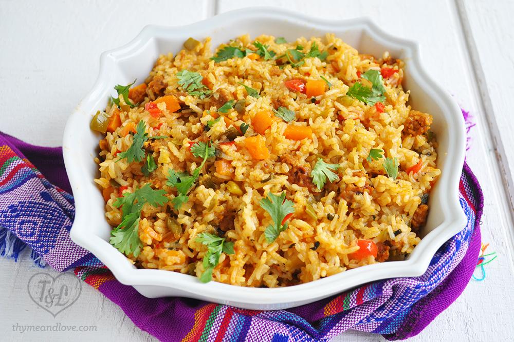 Vegan latin rice with chorizo thyme love vegan latin rice chorizo plaintain forumfinder Images