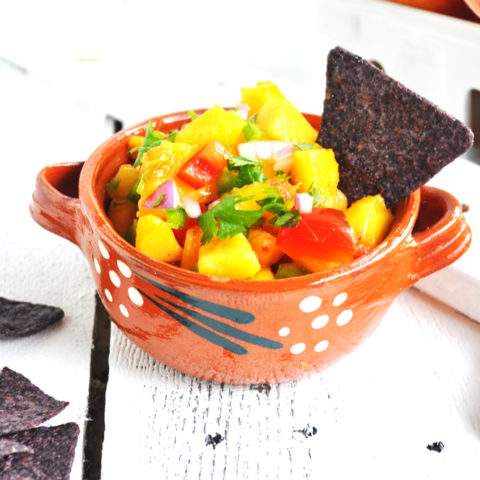 Light and refreshing Fresh Peach Salsa is perfect with chips or on taco night!