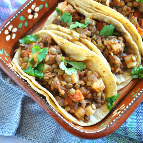 Lentil Picadillo: A vegetarian take on the classic Mexican Picadillo. Makes a great filling for tacos! #vegan #lentils #plantbased #mexican