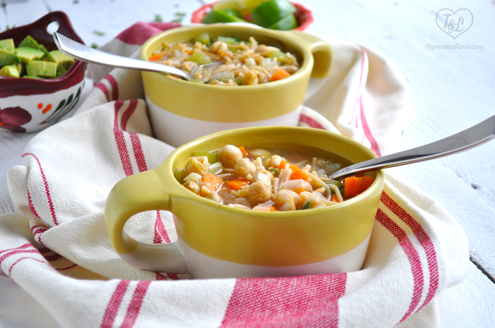 Mexican Chickpea Noodle Soup: Simple and comforting, soup that is healthy, satisfying, and easy to make! #vegan #mexican #plantbased #soup