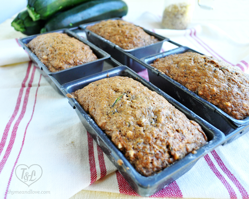 Zucchini Bread in mini loaf forms! These make great homemade gifts and freeze well too!