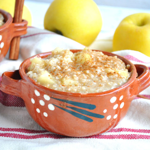 The perfect breakfast for fall: a warm bowl of apple steel cut oats made with fresh apple cider!
