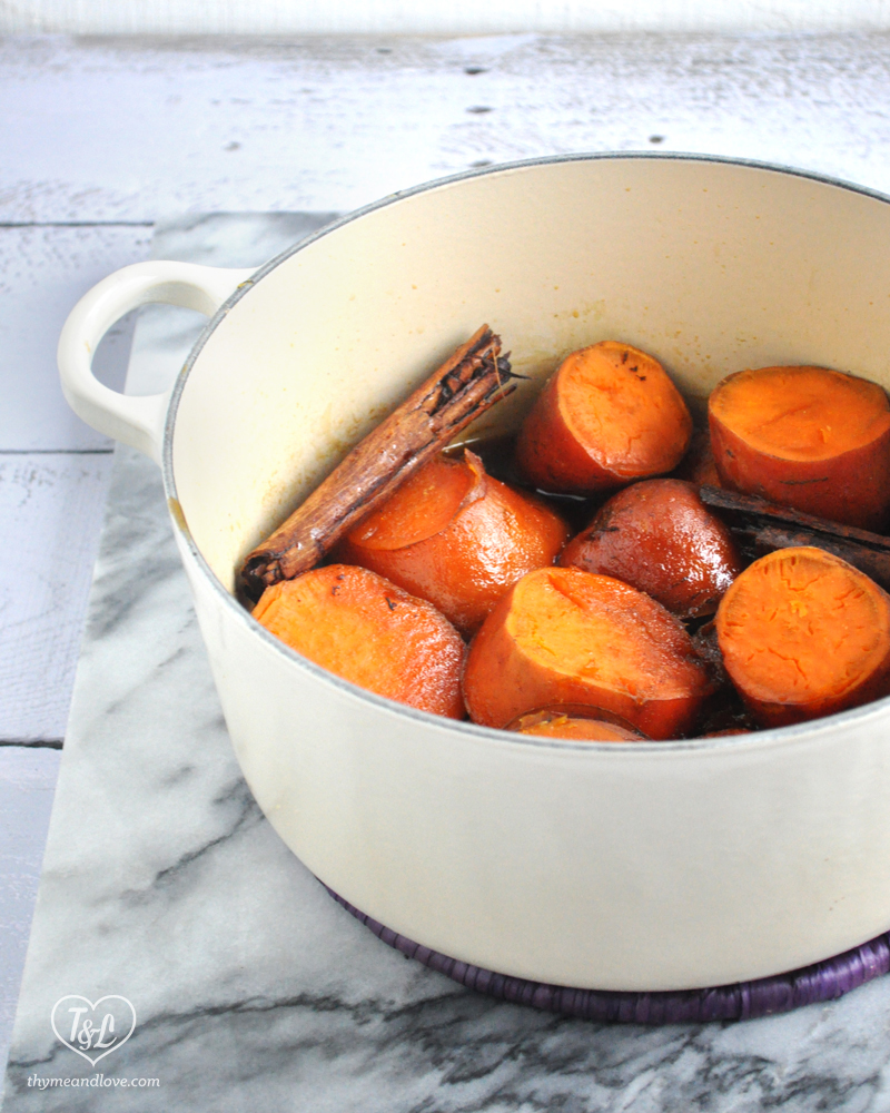 Easy Mexican Candied Sweet Potatoes are perfect for Dia de los Muertos & Thanksgiving! Sweet potatoes are cooked in a delicious cinnamon infused piloncillo syrup. Naturally Vegan + Gluten-Free!