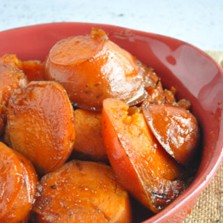 Cozy + Comforting Mexican Candied Sweet Potatoes are perfect for your holiday table. Sweet potatoes are cooked in a cinnamon inflused sugar syrup!