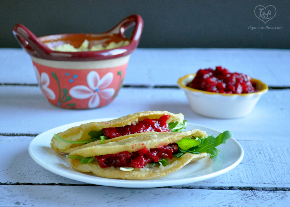 Potato Tacos served with leftover cranberry sauce from Thanksgiving! #tacos #vegan #thanksgiving