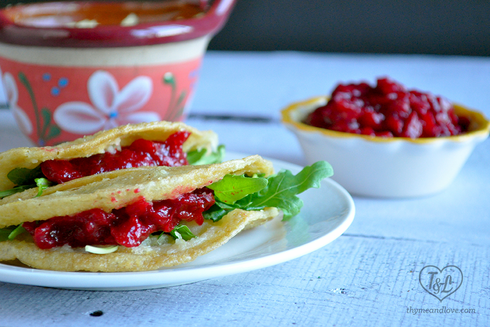 Vegan Potato Tacos: Mexican comfort food at its best! Served with cranberry sauce. #vegan #tacos #mexican