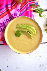 Vegan Potato Soup topped with rich, creamy avocado slices. A healthy, nutritious soup with Latin flair. #vegan #soup #avocado