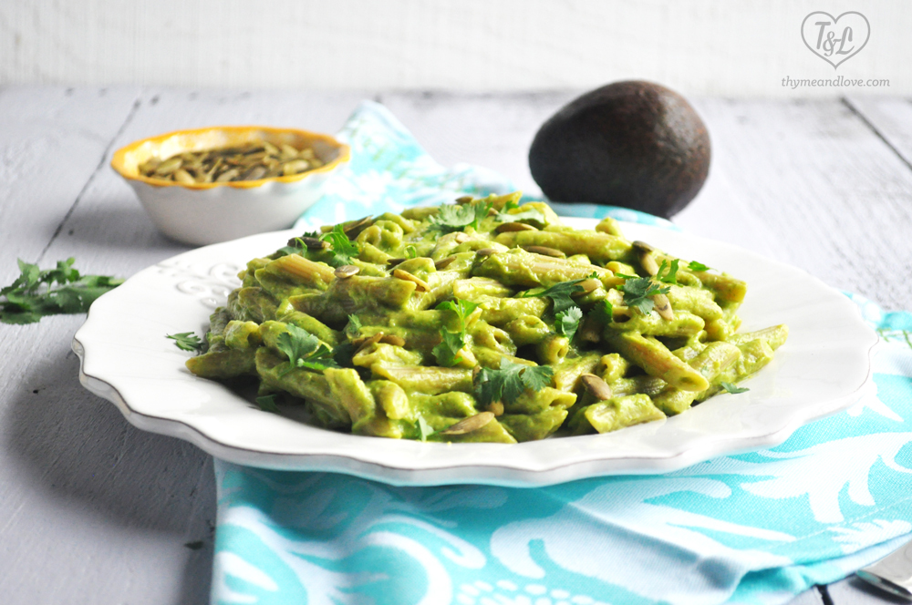 Creamy Avocado Pasta: a healthy pasta dish that is vegan + gluten-free too!