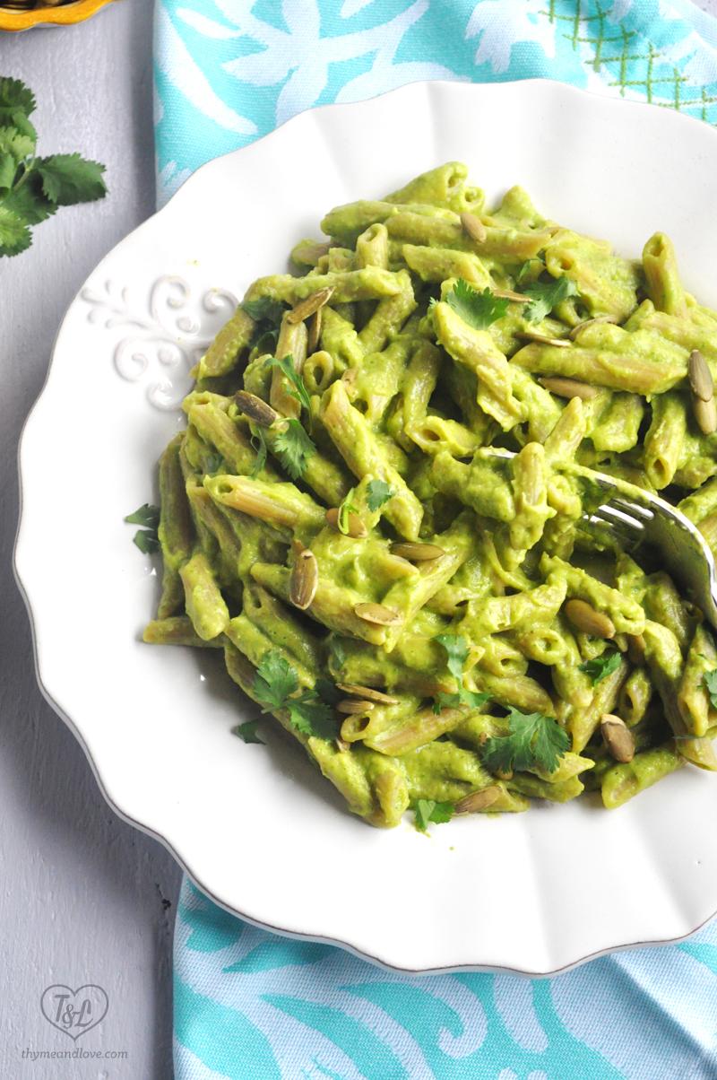 Creamy Avocado Pasta: simple pasta recipe that is vegan & gluten-free