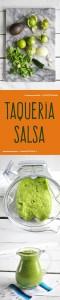 Taqueria Salsa: a creamy, raw salsa with avocado and tomatillos. Perfect for serving on your next taco night! #salsa #taco #avocado #raw