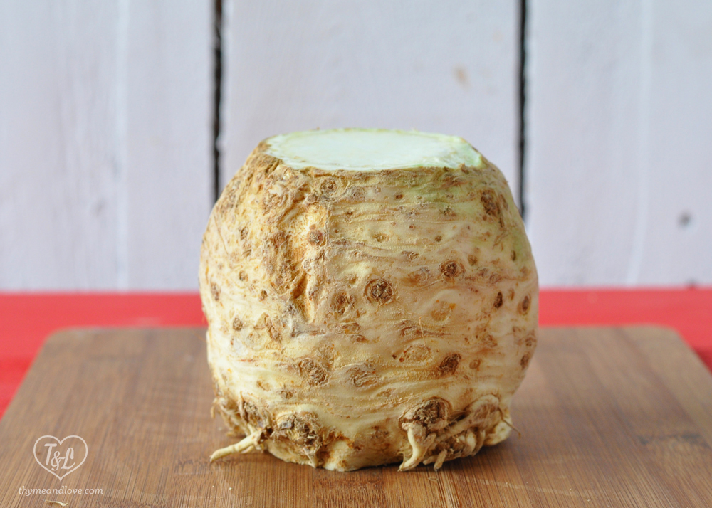 celeriac- winter root vegetable that's low in calories and full of vitamins and minerals.