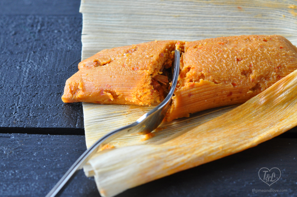 Vegan Red Chile Jackfruit Tamales from Vegan Tamales Unwrapped by Dora Stone. #vegan #tamales