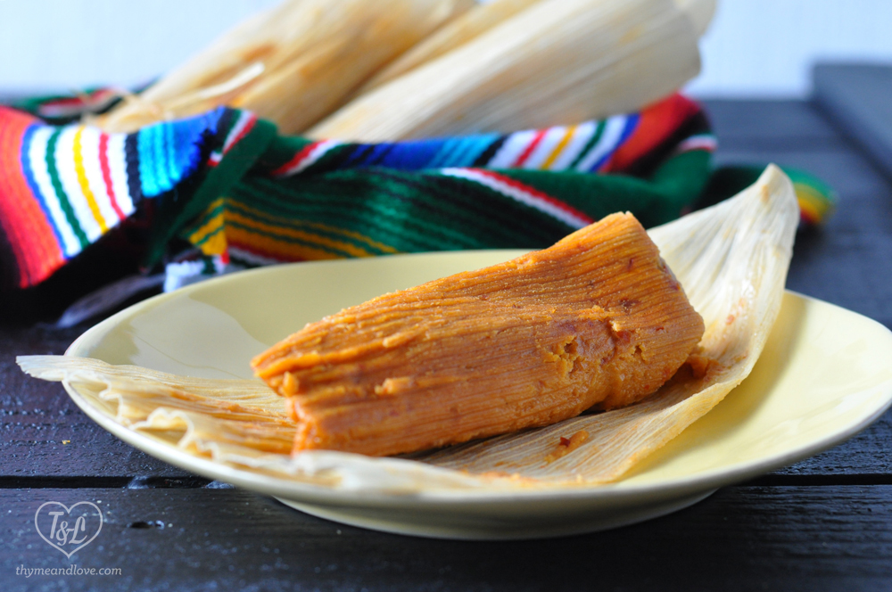 Vegan Red Chile Jackfruit Tamales from Vegan Tamales Unwrapped by Dora Stone