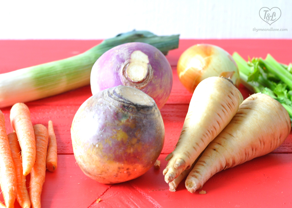 Vegetarian Irish Stew featuring a range of hearty root vegetables. A healthy option for St. Patrick's Day!