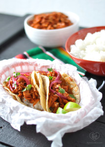 Vegan Jackfruit Tacos with Mexican White Rice topped with pickled red onions. Perfect for taco night! #tacos #veganmexican #plantbased #mexican