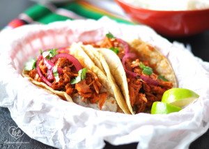 Vegan Jackfruit Tacos with Mexican White Rice makes for a delicious taco night! #vegan #glutenfree #tacos #jackfruit #mexican