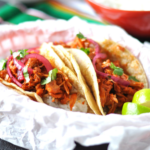 Vegan Jackfruit Tacos with Mexican White Rice makes for a delicious taco night! #vegan #glutenfree #tacos #jackfruit #mexican