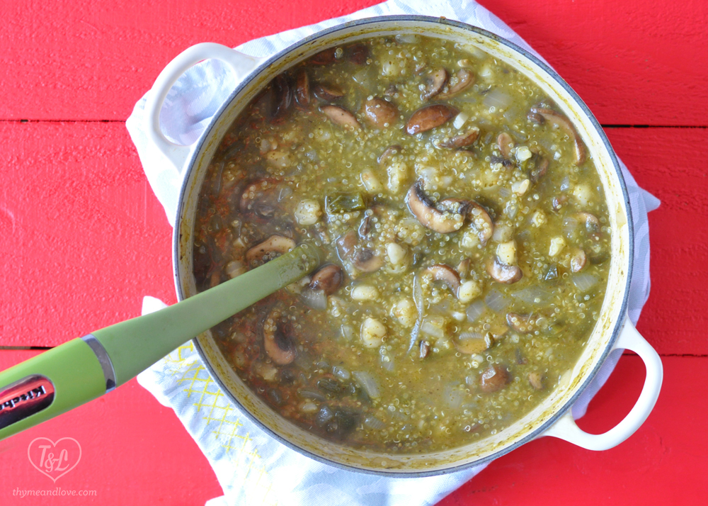 Vegan Mushroom Posole Verde with Quinoa #vegan #plantbased #mexican