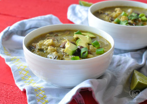 Vegan Mushroom Posole Verde with a tomatillo salsa verde base and quinoa for added nutrition. #vegan #mexican #veganmexican #posole