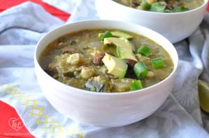 Vegan Mushroom Posole Verde with Quinoa. Healthy and delicious! #vegan #posole #mexican #quinoa