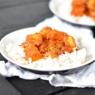 Tomato Chipotle Tofu with Peas