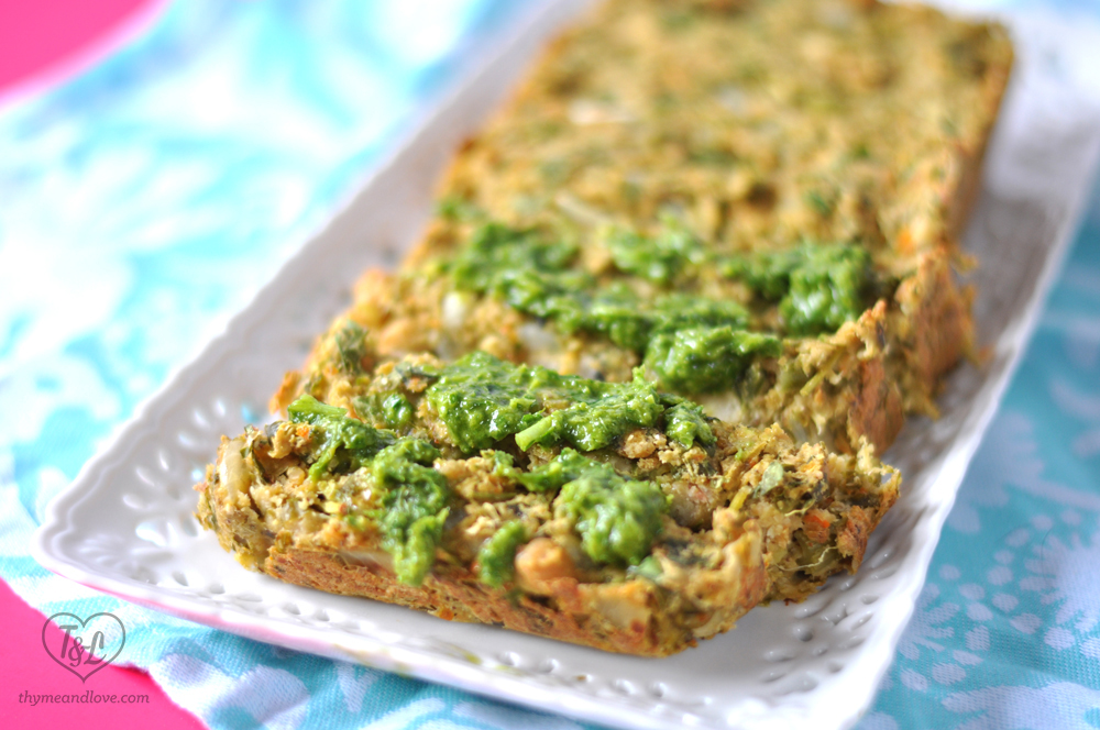 Chickpea Veggie Loaf with Salsa Verde. #plantbased #vegan #glutenfree