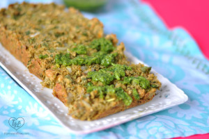 Chickpea Veggie loaf topped with a bright, herb salsa verde is perfect for Spring! #vegan #plantbased #entree
