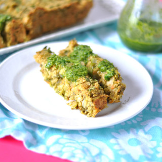 Vegan Chickpea Veggie Loaf is bright, light and full of fresh herbs. Topped with a delicious salsa verde. Vegan + GF! #entree #legume #pulses