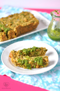 Vegan Chickpea Loaf with veggie and lots of fresh herbs. Topped with an amazing salsa verde that you'll just love! #vegan #entree #plantbased #recipe