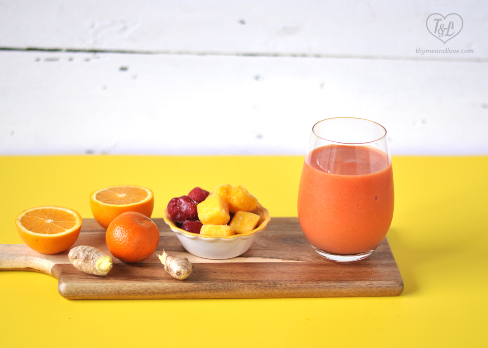Kick off your morning with a healthy and nutritious Strawberry Mango smoothie! #smoothie #vegan #plantbased #breakfast