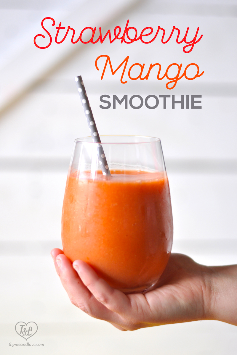 Kick off your morning on a healthy note with this Strawberry Mango Smoothie with Orange and ginger! #smoothie #breakfast #vegan