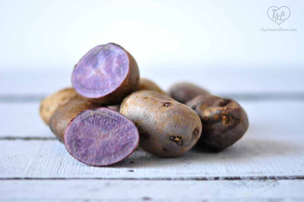 Purple potatoes are full of antioxidants from their gorgeous purple color; the same antioxidant that is found in purple produce! #eattherainbow #potatoes #produce