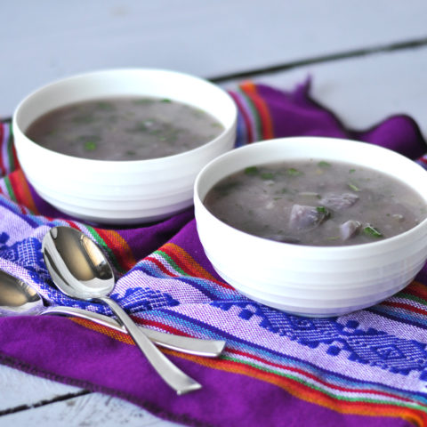 Light + Healthy Purple Potato Soup. Purple potatoes are filled with antioxidants making this an extra healthy soup! #vegan #soup #potatoes