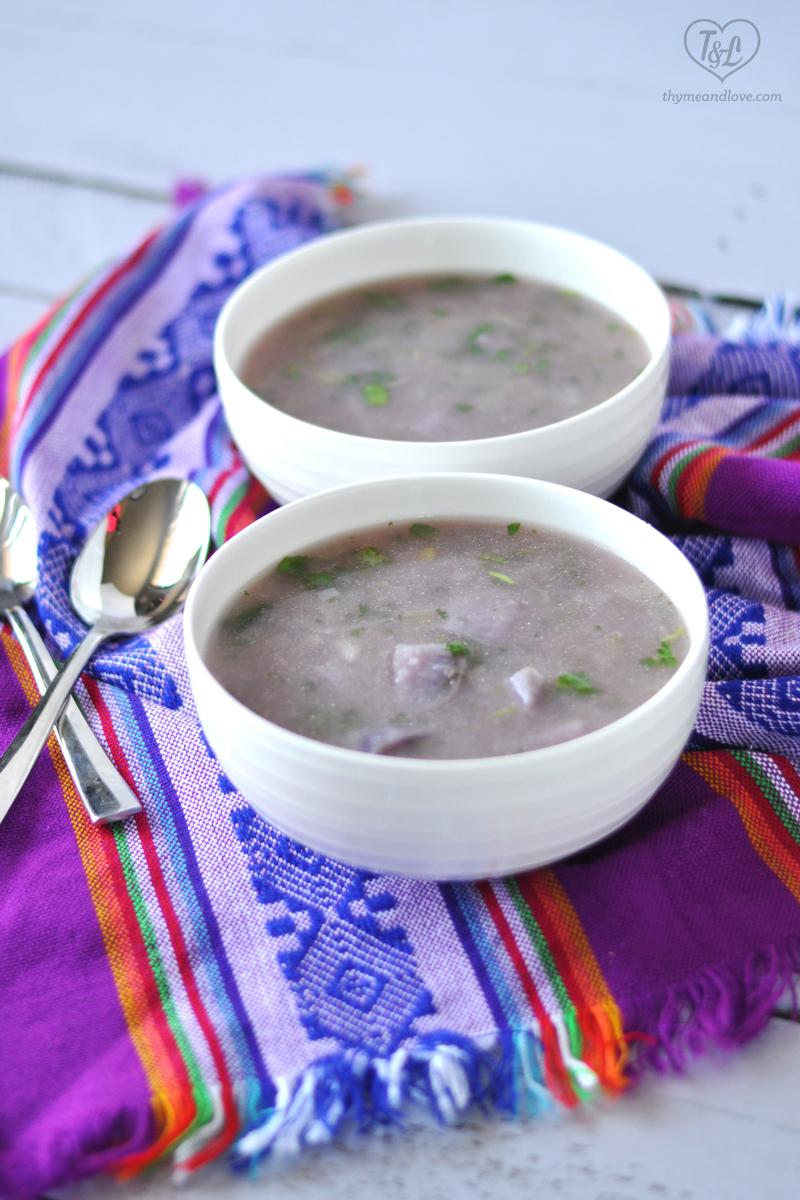 Healthy + Light Purple Potato Soup. Full of antioxidants! #soup #potatoes #vegan #glutenfree