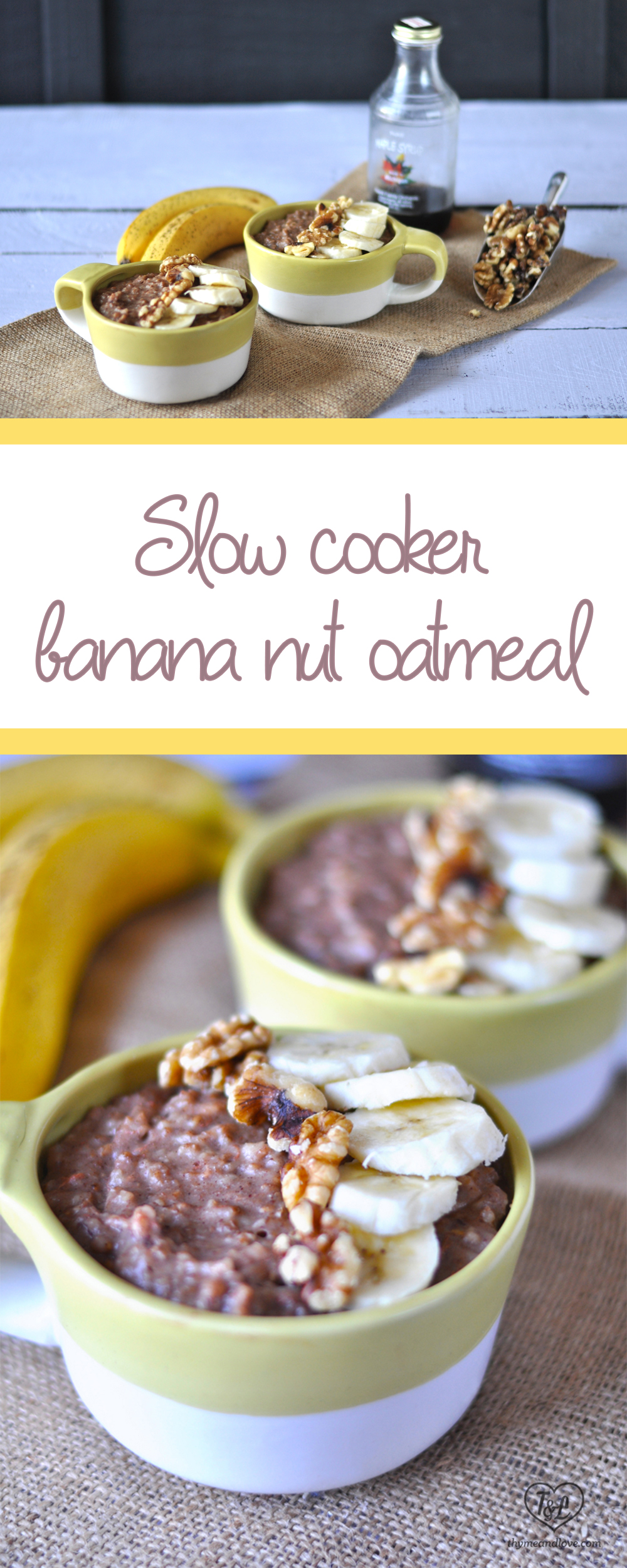 Slow Cooker Banana Oatmeal that taste just like banana bread, but much healthier! Perfect for a make ahead breakfast !#vegan #breakfast #oatmeal #slowcooker