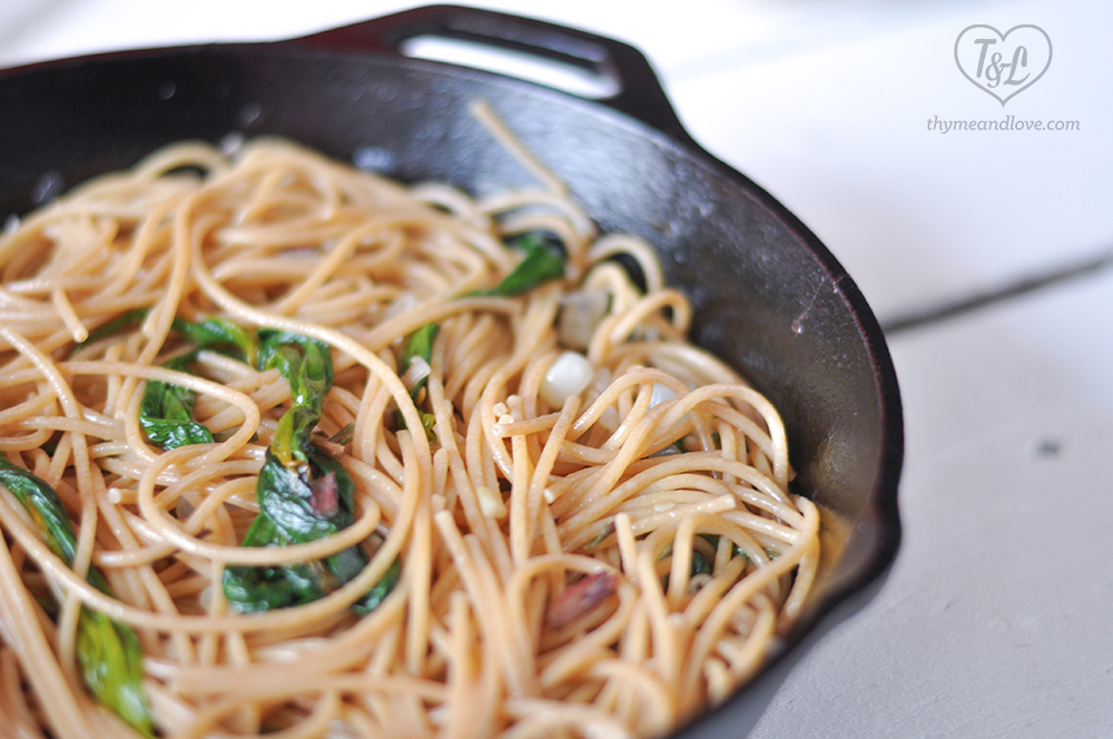 Easy pasta recipe featuring ramps! Perfect for a spring time dinner. #pasta #ramps #vegan