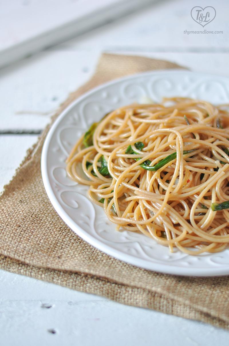 Ramp Spaghetti with toasted bread crumbs